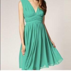 REISS Chiffon Saffron Grecian Seafoam Green Dress